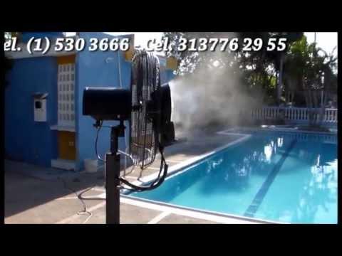 Ventiladores con agua pulverizada