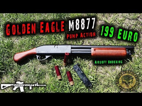 Golden Eagle M8877 Vollmetall Pump Action Gas |  Airsoft Unboxing Deutsch | BOBBERMAN