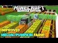 Minecraft Bedrock Improved Melon And Pumpkin Farm Tutorial MCPE Xbox PC