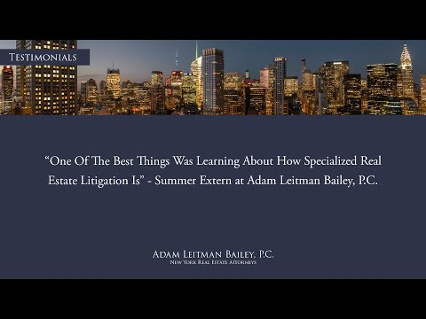 """""""One of the best things about the externship is learning about how specialized real estate litigation is"""" – Externship Testimonial – Adam Leitman Bailey, P.C. testimonial video thumbnail"""