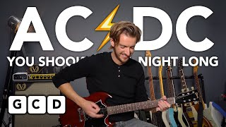 AC/DC You Shook Me All Night Long - EASY Guitar lesson tutorial
