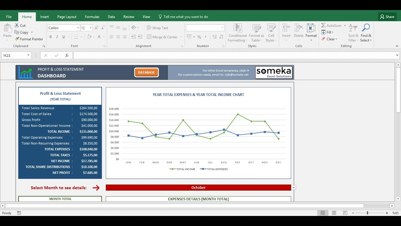 profit and loss statement template someka excel template video - Free Excel Spreadsheet Templates