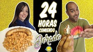 24 HORAS COMIENDO DORADO | Un día entero comiendo por color ORO Momentos Divertidos Jordi y Bego