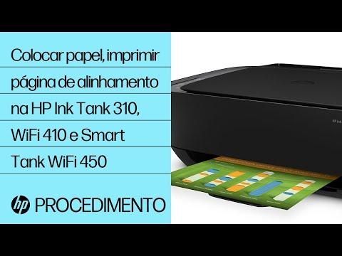 Colocar papel e imprimir uma página de alinhamento nas impressoras das séries HP Ink Tank 310, Ink Tank Wireless 410 e Smart Tank Wireless 450