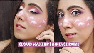 Cloud Face Art Makeup Tutorial | Without Face Paint | Beginners Makeup | No Face Paint Needed
