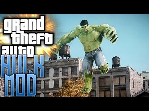 I'M SO BUFF!! - GTA 5 Hulk Mod Gameplay - смотреть онлайн на