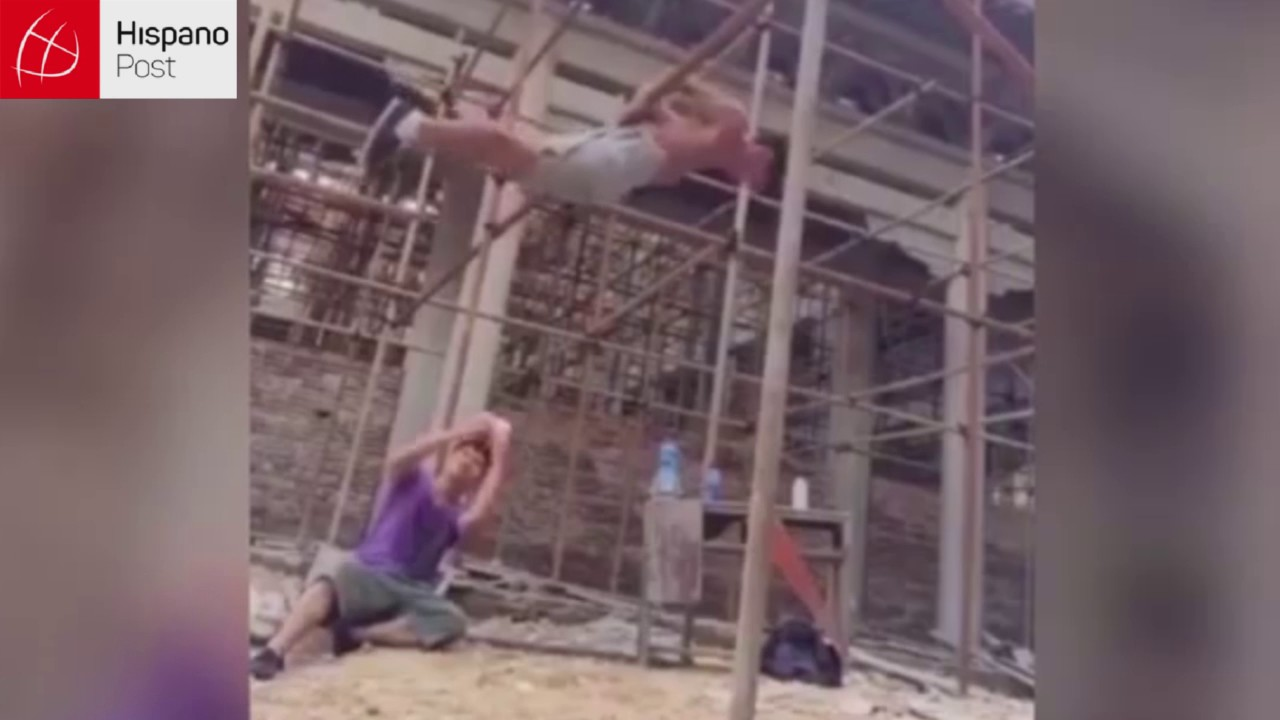 Obrero chino podría ir a las olimpiadas: Realiza acrobacias en su trabajo