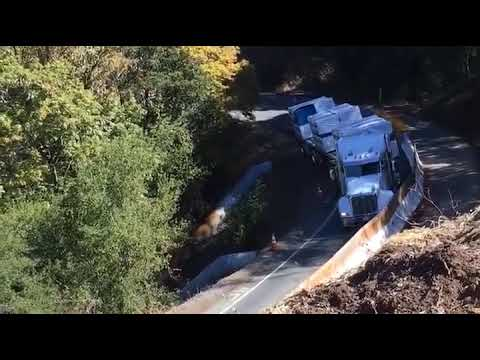 Semi-Truck in Northern California ignores Road Work Warnings
