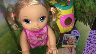 BABY ALIVE GO BYE BYE BOX OPENING-SLING DEMO--PLEASE HELP ME NAME HER