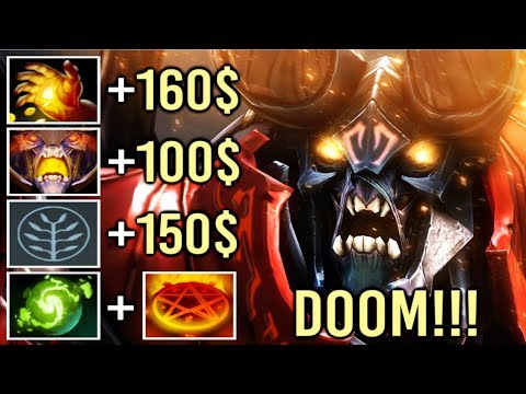 Most Brutal +410 GPM Doom Carry Midas to Refresher Core Item Epic Gameplay by awen 7.21 Dota 2