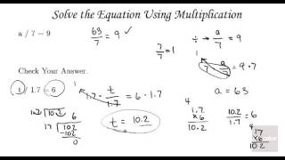 Algebra Tutorial Equations and Applications   Solving Multiplication and Division Equations