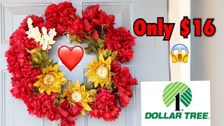 How to make wreath on a budget! Everything from the Dollar Tree| Under $20 😱