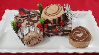 طريقة تحضير بوش دي نويل  Bûche de Noël au Chocolat, Chocolate Yule Log Cake Recipe