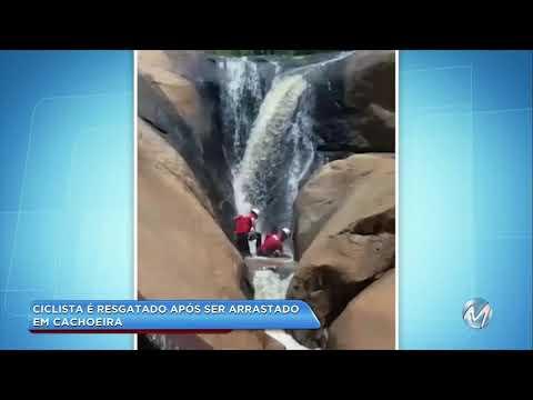 Bombeiros resgatam ciclista que caiu em cachoeira em Barbacena