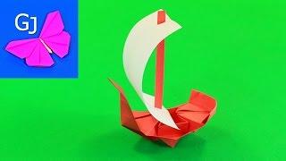 Оригами из бумаги Корабль с парусом