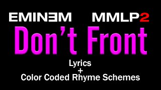 Eminem - Don't Front - [Lyric Video & Colored Rhyme Scheme]