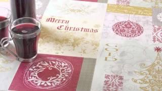 Jolee Tableclolths: Red Gold Cream Christmas Patchwork PVC Vinyl Tablecloth