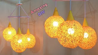 How To Make A Homemade Wrapped Balloon Lampshade| Fancy Light | Home Decor | Art And Craft Ideas