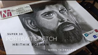 Portrait Sketch of Hrithik Roshan | Super 30 Look