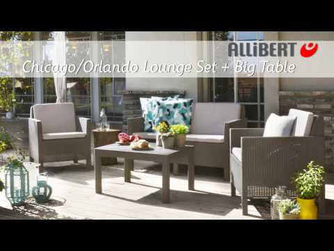 Allibert Chicago lounge set with big table Assembly video