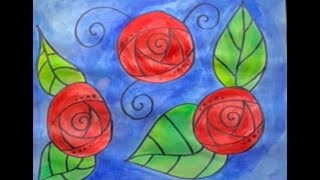 Mexican Folk Art Circle Flowers Painting