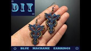 DIY Blue Macrame Earrings. Easy Micromacrame  Jewelry.