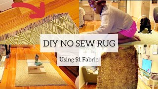 DIY NO SEW RUG/CARPET WITH $1 FABRIC | QUICK AND EASY! | MsTopacJay