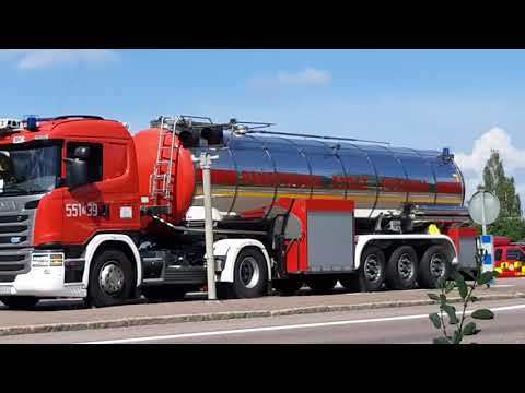Firetrucks from Poland in Sweden for helping with the big fires