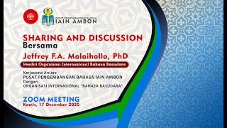 """Sharing and Discussion bersama Jeffrey F.A. Malaihollo,Ph.D"" – Pusat Pengembangan Bahasa IAIN Ambon"