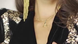 """Bague """"Perle de Lune"""" en vermeil plaqué or 18 carats et quartz noir"""