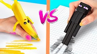 10 DIY Fortnite School Supplies vs Minecraft School Supplies Challenge!