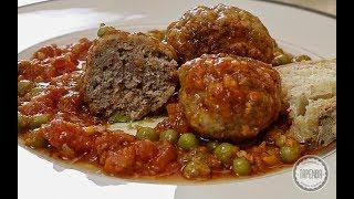 Kotlety mielone w sosie pomidorowym z groszkiem