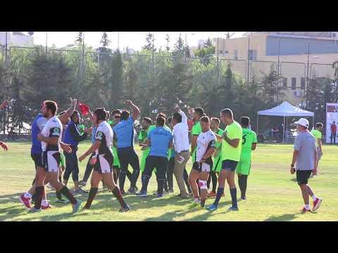 فرحة المنتخب العراقي بعد تغلبه على المنتخب الأردني - البطولة العربية الثالثة لسباعيات الرجبي - الأردن 2017
