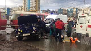 Последствия ДТП с участием трамвая и УАЗа на Московском - Ташкентской в Самаре