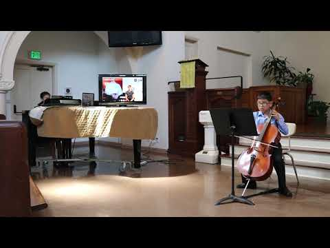"A student performing ""At Twilight"" for my yearly cello recital."