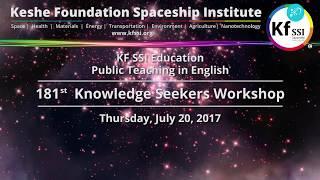 181st Knowledge Seekers Workshop, Thursday, July 20, 2017