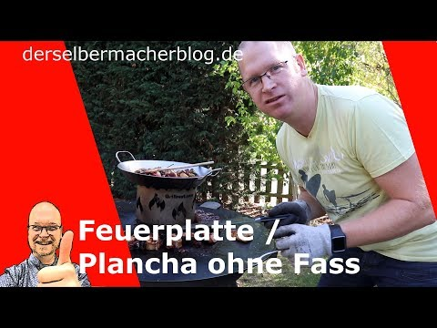 Grillplatte / Plancha / Feuerplatte mit neuer Unterkonstruktion, ohne Fass