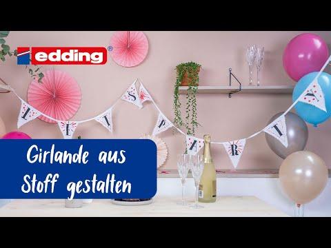 DIY Girlande mit edding Textilmarkern und -stiften
