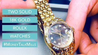 Two Authentic Solid 18K Gold Rolex Watches