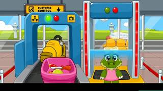 Мультик аэропорт: крокодильчики летят на самолете