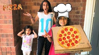 Kids pretend play pizza delivery in real life!! funny video