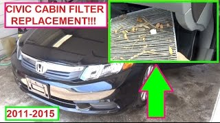 Honda Civic Cabin Air Filter Replacement (Pollen Filter) 2011   2015 Ninth  9th Generation