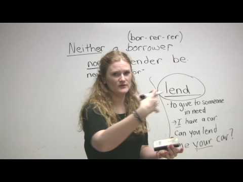 Lekce angličtiny – borrow, lend, rent a use