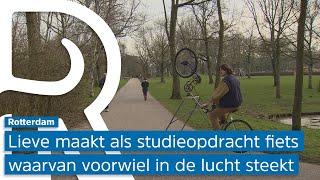 Kunststudente ontwerpt 'luchtfiets' en zorgt voor veel plezier in Rotterdamse Vroesenlaan: 'Bizar...