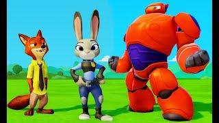 Видео для детей про друзей Зверополис Бэймакс Дисней Мультфильм Игра для детей мультики про машинки