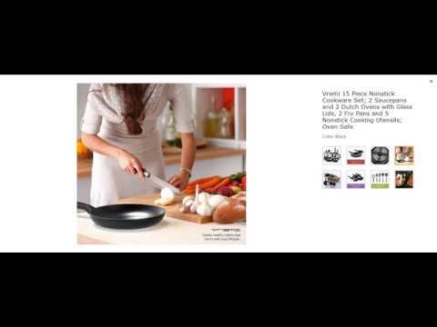 5% discount Vremi 15 Piece Nonstick Cookware Set; 2 Saucepans and 2 Dutch Ovens