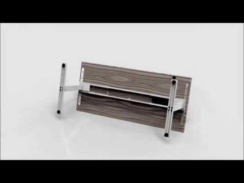 Hævesænkebord Cube Design 120x80cm Sort/Sort