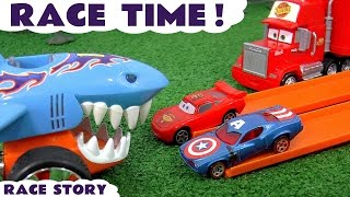 Disney Cars Toys Race Time with Hot Wheels Shark Spiderman Minions Captain America & Angry Birds