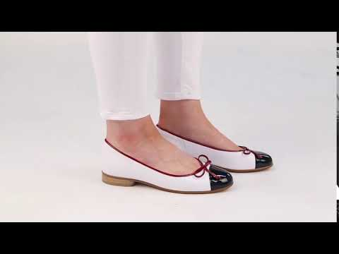 Gabor Bunty Marine White Cherry Womens Leather Ballet Pumps