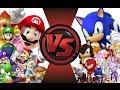 MARIO Vs SONIC! TOTAL WAR!! Cartoon Fight Club Episode 18